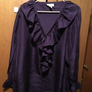 Washable silk size 18-20 purple ruffled blouse